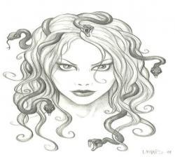 Medusa clipart black and white