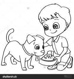 Pet clipart child feeding