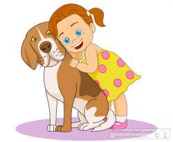 Cuddling clipart dog