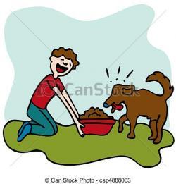 Pets clipart child feeding