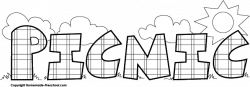 Picnic clipart black and white