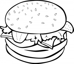 Burger clipart black and white
