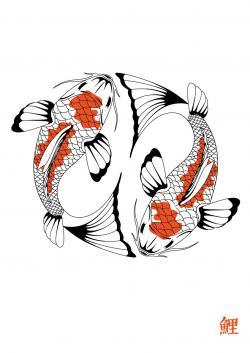 Drawn koi carp japanese