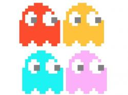 Pixel clipart pacman ghost