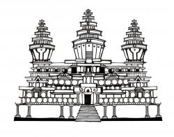 Angkor Wat clipart black and white
