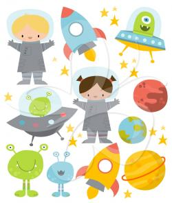 Rocket clipart cute alien spaceship