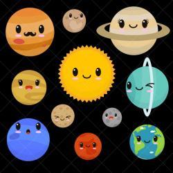 Planets clipart kawaii