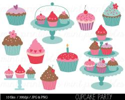 Cupcake clipart coral