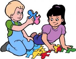 Puzzle clipart children helping child