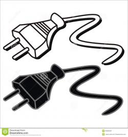 Plug clipart black and white