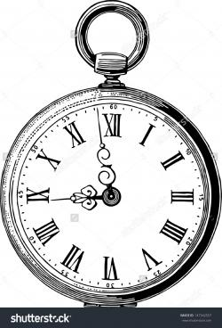 Drawn pocket watch old style