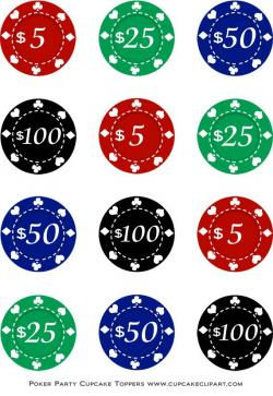 Collage clipart poker card chip
