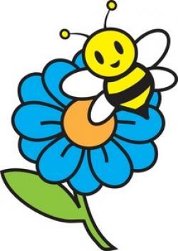 Blue Flower clipart bumblebee