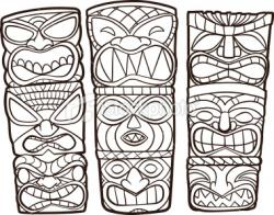 Drawn totem pole cartoon