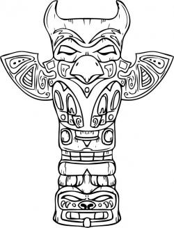 Drawn totem pole color