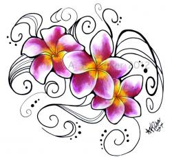 Frangipani clipart purple hawaiian flower