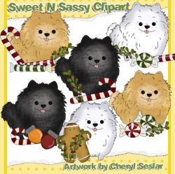 Pomeranian clipart christmas