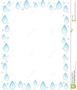 Drawn raindrops border