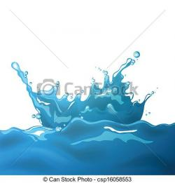 Drawn water droplets wave splash
