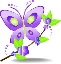 Purple Rose clipart pretty butterfly