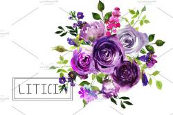 Purple Rose clipart purple bouquet