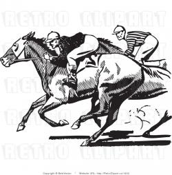 Horse Racing clipart black and white