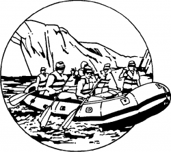 Rafting clipart black and white