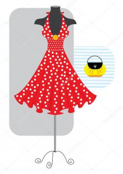 Red Dress clipart vector fashion