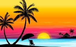 Islet clipart beach sunset