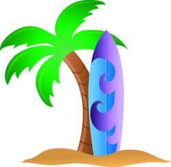 Surfing clipart hawaiian palm tree