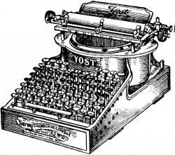 Drawn typewriter industrial revolution