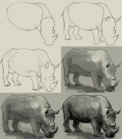 Charging Rhino clipart Easy Rhino Drawing