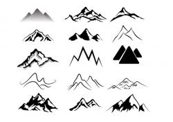 Mountain Ridge clipart black and white