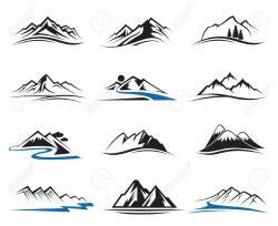 Mountain Ridge clipart line art
