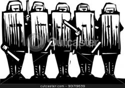 Riot clipart black and white