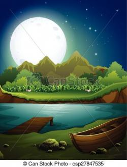 Moonlight clipart river