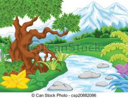 Countyside clipart river landscape