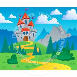 River Landscape clipart castle