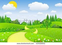 River Landscape clipart forest road