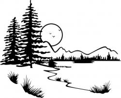 Stream clipart black and white
