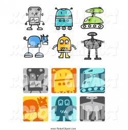 Robot clipart button