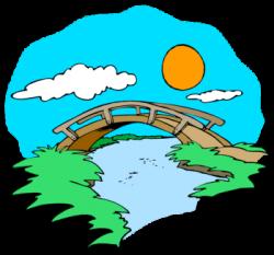 Rope Bridge clipart bridge river