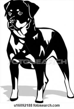 Rottweiler clipart black and white
