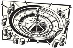 Roulette Wheel clipart black and white