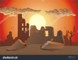 Destruction clipart destroyed city