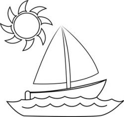 Sailing Boat clipart colouring picture