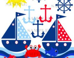 Sailing Boat clipart themed