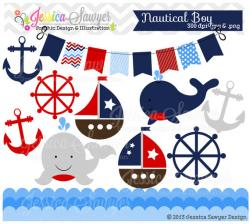 Sailing Boat clipart nautical baby shower