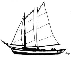 Sailing Boat clipart line drawing