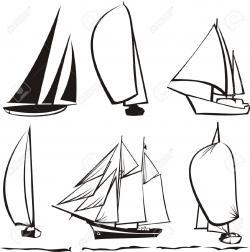 Drawn yacht sailor boat